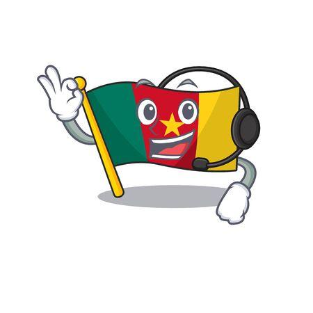 with headphone flag cameroon above the table cartoon vector illustration Фото со стока - 133388913