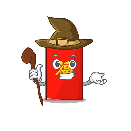 happy cartoon in the red envelope vector illustration witch