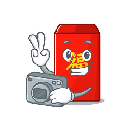 happy cartoon in the red envelope vector illustration photographer