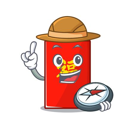happy cartoon holding compass in the red envelope vector illustration