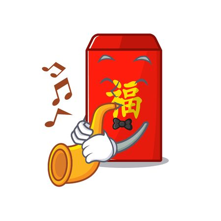 happy with trumpet cartoon in the red envelope vector illustration