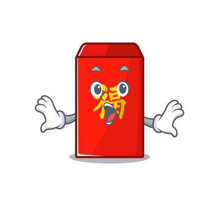 happy cartoon in the surprised red envelope vector illustration Illustration
