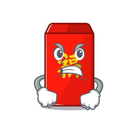 happy cartoon in angry the red envelope vector illustration Ilustração