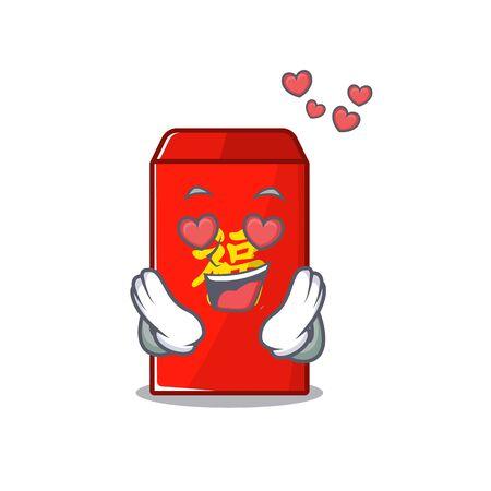 happy cartoon in the red in love envelope vector illustration Illusztráció