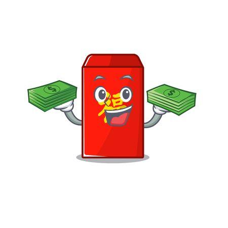 happy cartoon in the red envelope holding money vector illustration Ilustração