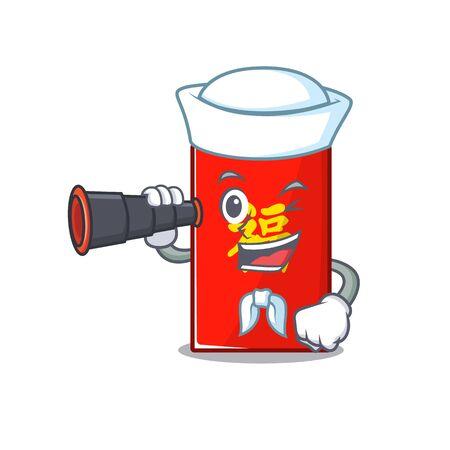 sailor holding binocular happy cartoon in the red envelope vector illustration Ilustração