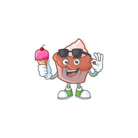 Sweet brioche with cream with ice cream mascot