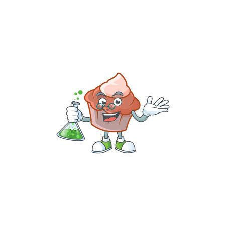 Sweet brioche with cream in professor mascot