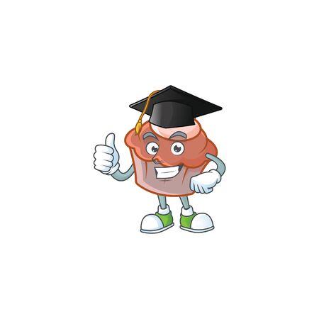 Sweet brioche with cream in graduation hat mascot