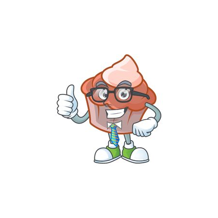 Sweet brioche with cream in businessman mascot