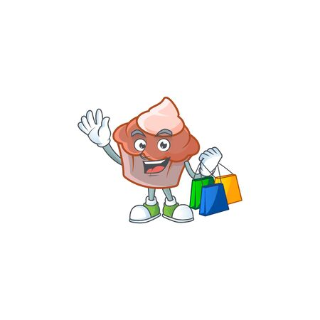 Sweet brioche with cream in shopping mascot