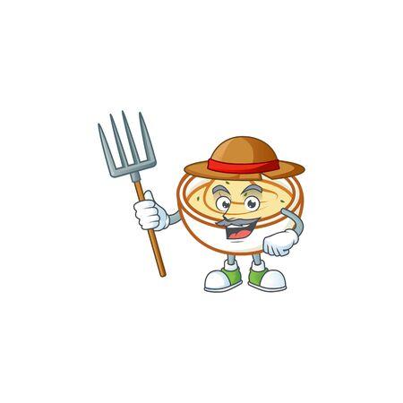 Mashed potatoes cartoon character with mascot farmer. Vector illustration Illustration
