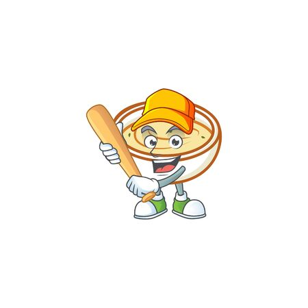 Mashed potatoes cartoon character with mascot playing baseball. Vector illustration Çizim