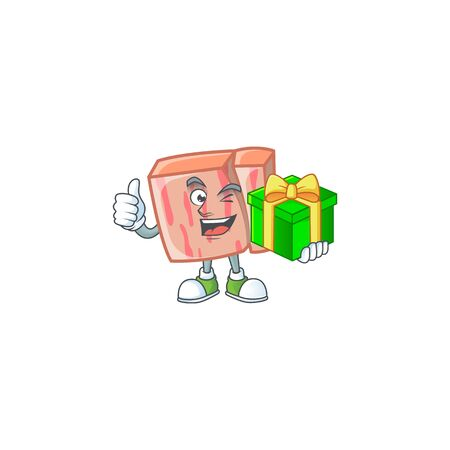 Meat with holding gift character on white background