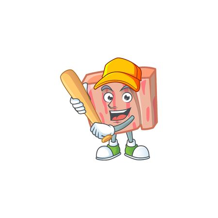 Fresh meat cartoon with playing baseball character shape vector illustration