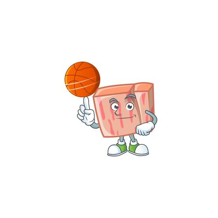 Fresh meat cartoon with holding basketball character shape vector illustration