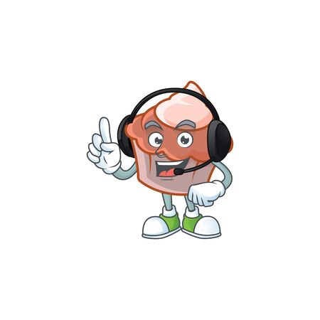 Brioche with cream with mascot shape with headphone. Vector illustration