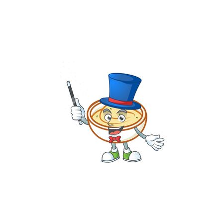 Mashed potatoes in bowl with magician character vector illustration
