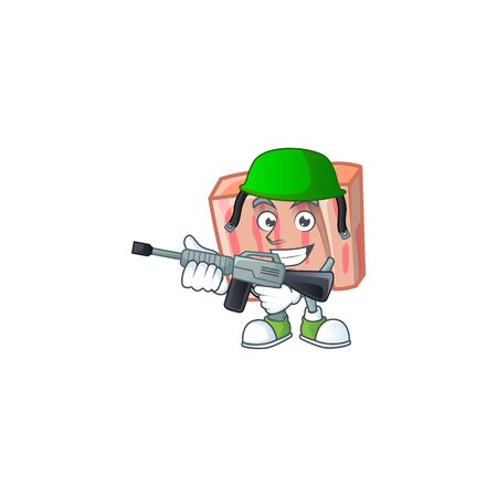 Fresh meat cartoon with army character shape vector illustration Illustration