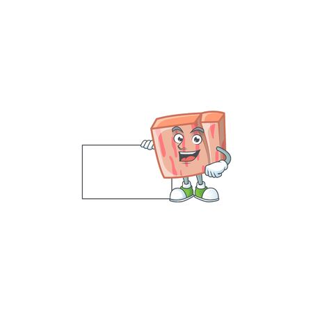 Fresh meat cartoon with grinning with board character shape vector illustration Ilustracja