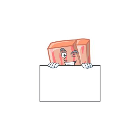 Fresh meat cartoon with squinting with board character shape vector illustration