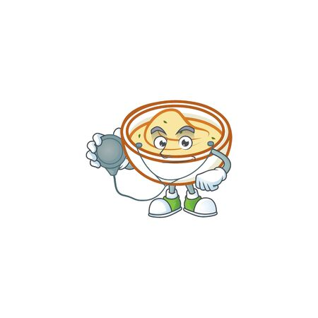 Mashed potatoes cartoon character with mascot doctor. Vector illustration