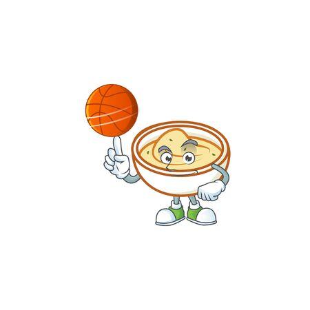 Mashed potatoes cartoon character with mascot holding basketball. Vector illustration