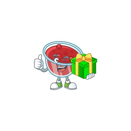 Fresh canberries sauce with holding gift cartoon character. Vector illustration Ilustracja