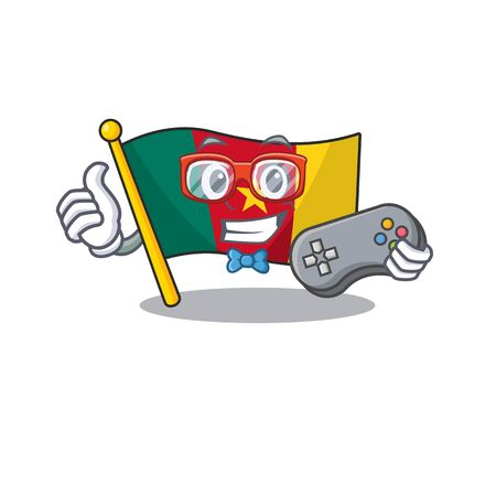 holding gamer flag cameroon mascot isolated with cute vector illustration