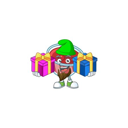 Sweet canberries sauce with cartoon style bring two gifts. Vector illustration