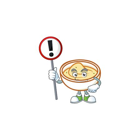 Mashed potatoes cartoon character with mascot with sign warning. Vector illustration