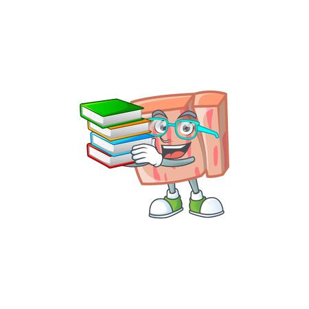 Cartoon meat in the character mascot student bring book vector illustration