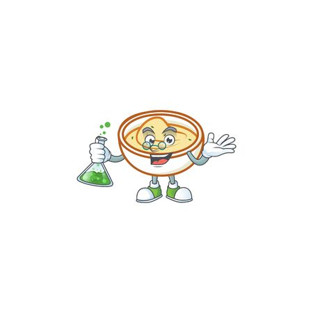 Mashed potatoes with professor character on white background vector illustration
