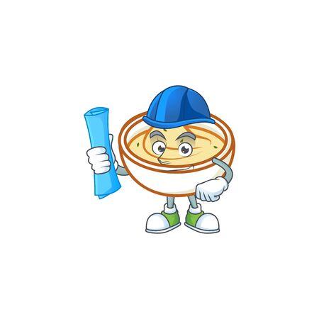 Mashed potatoes with architect character on white background vector illustration Illustration