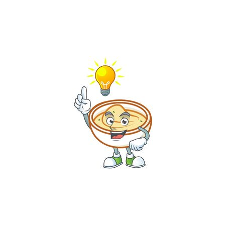 Mashed potatoes in bowl with have an idea character vector illustration