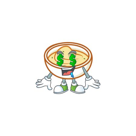 Mashed potatoes in bowl with money eye character vector illustration