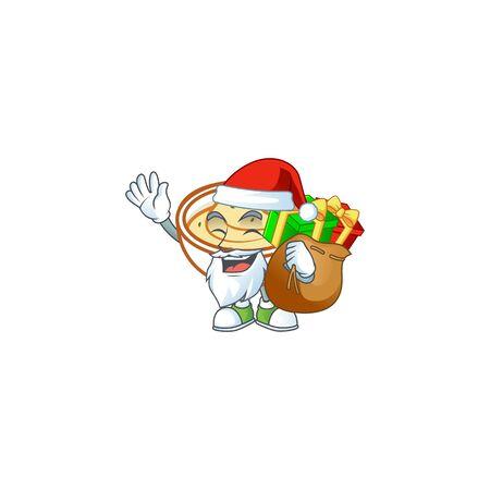 Mashed potatoes in bowl with santa bring gift character vector illustration