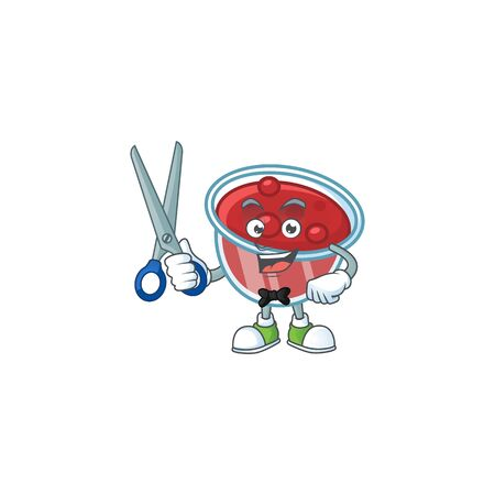 Cranberries sauce icon in character shape barber. Vector illustration Ilustrace