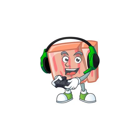Fresh meat cartoon with bring gaming character shape vector illustration