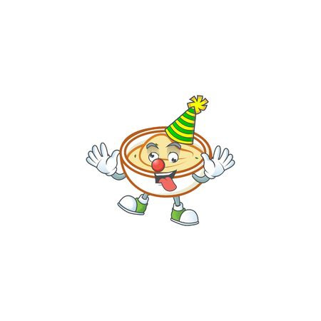 Mashed potatoes in bowl with clown character vector illustration