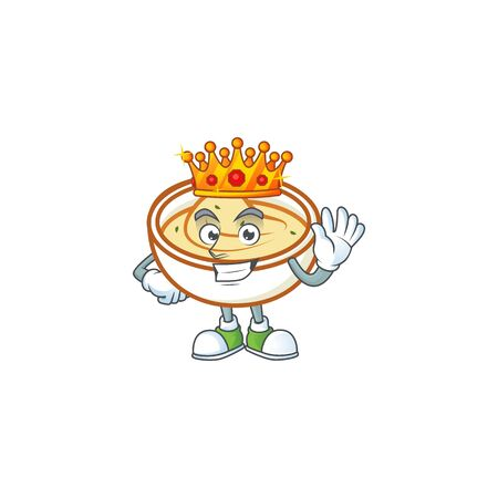 Mashed potatoes in bowl with king character vector illustration Çizim