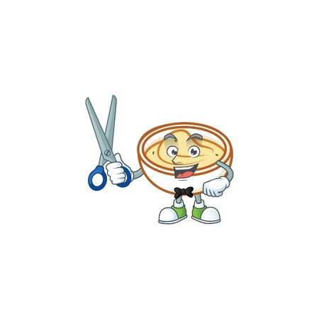 Mashed potatoes cartoon character with mascot barber. Vector illustration Reklamní fotografie - 133482155
