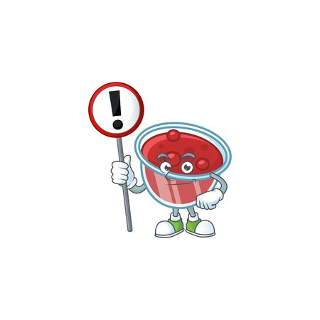 Canberries sauce icon in character shape with sign warning. Vector illustration