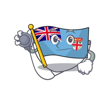 flag fiji isolated in the doctor mascot vector illustration Illustration