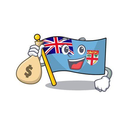 flag fiji isolated in the holding money bag mascot vector illustration Illustration