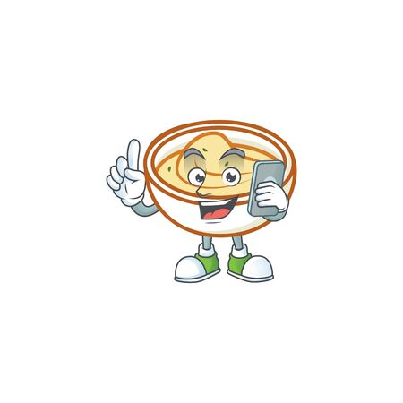 Mashed potatoes cartoon character with mascot with holding phone. Vector illustration 向量圖像