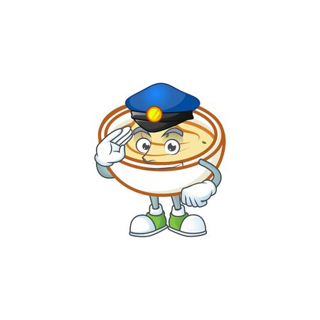 Mashed potatoes cartoon character with mascot police. Vector illustration