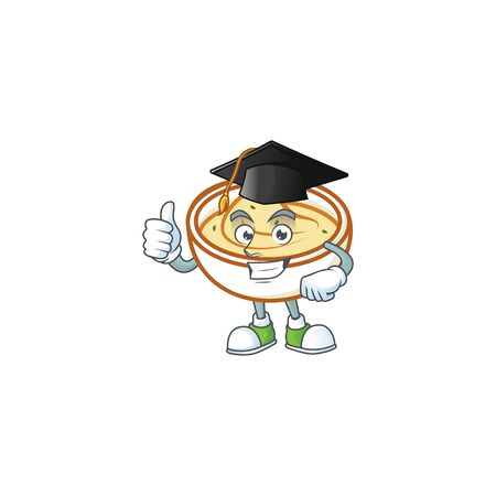 Mashed potatoes with graduation hat character on white background vector illustration Stock Illustratie