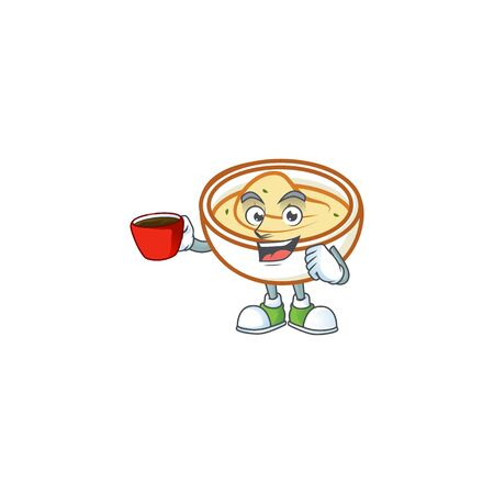 Mashed potatoes with drinking in cup character on white background vector illustration