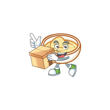 Mashed potatoes with bring box character on white background vector illustration
